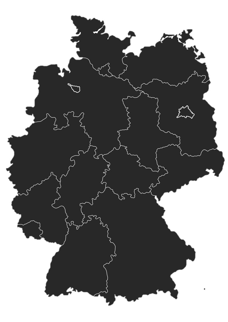 Eine Karte von Deutschland mit eingezeichneten Grenzen der einzelnen Bundesländer.